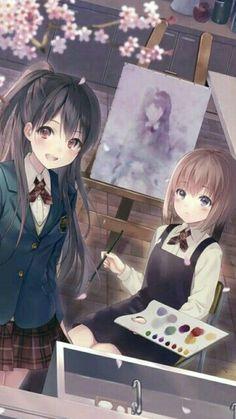 Manga Anime, Anime Play, Anime Chibi, Anime Art, Anime Best Friends, Anime School Girl, Beautiful Anime Girl, Kawaii Anime Girl, Girl Cartoon