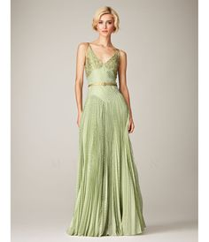Mignon Mint & Gold V-Neck Textured Belted Evening Gown