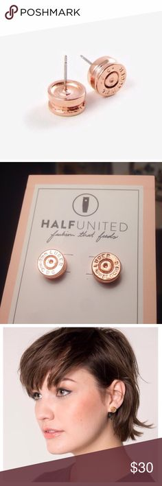 "Rose gold bullet earrings Half United ""Ali"" bullet top earrings in rose gold color, brand new. I believe they're real fired 9 mm Luger rim and primer coated in rose gold metal. Feminine and badass, because what's feminine that isn't badass? Half United Jewelry Earrings"