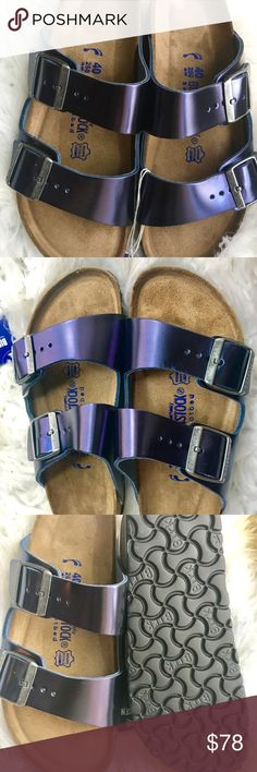 BNWT Birkenstock Metallic Sapphire 40 N Originally $135  Brand new with tags and box. Box might not be in perfect shape due to handling.  All items are inspected throughly and filmed before shipment.  Size 40 Narrow width. Soft Footbed  No returns so please know your size in Birks before ordering. I can only guarantee I will be sending the European size stated on the listing. Sorry, No free shipping unless otherwise stated. Price is Firm  Thanks! Birkenstock Shoes Sandals