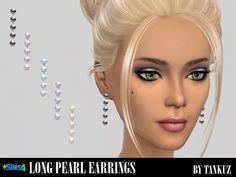 Long pearl earrings at Tankuz Sims4 via Sims 4 Updates