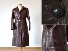 vintage Real LEATHER womens TRENCH COAT mac 70s brown pointed collar long jacket #Unbranded #Military #Casual