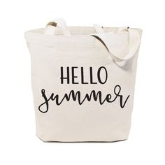 Hello Summer Cotton Canvas Beach, Shopping and Travel Reusable Shoulder Tote and Handbag, Gifts for Summer Calligraphy, Summer Tote Bags, Bag Quotes, Casual Bags, Bagan, Large Bags, Cotton Canvas, Canvas Fabric, Canvas Tote Bags