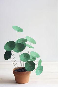 diy kleiner blumentopf papierpflanzen