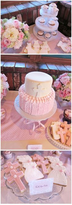 Baby girl baptism or christening celebration dessert table. But for a boy Christening Party, Baptism Party, Baptism Desserts, Baptism Dessert Table, Baptism Cakes, Religious Cakes, Baby Dedication, Baby Girl Christening, Communion Cakes