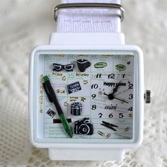 MINI hodinky - Rozvrh - bílé Square Watch, Watches, Wristwatches, Clocks