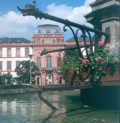 Darmstadt. Blick über den Marktbrunnen zum Residenzschloss (13. Jh.; Grafen von Katzenelnbogen) | Hildebrand, Gustav