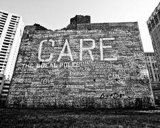 Detroit Photography  CARE Graffiti Brick Wall by AlannaPfeffer, $30.00