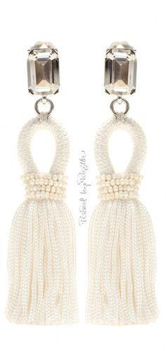 Oscar de la Renta Embellished Tassel Clip-on Earrings - ShopStyle White Cocktails, Swarovski, What Women Want, Pearl Cream, White Aesthetic, Gold Style, Beautiful Earrings, Clip On Earrings, Fashion Accessories