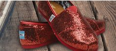 Red glittery TOMS - love these!