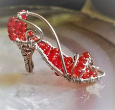 Wire-wrapped High Heel Pendant