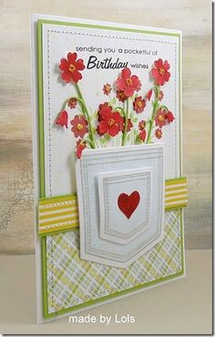 A Pocketful of Flowers :-) by yorkshire lass - Cards and Paper Crafts at Splitcoaststampers Making Greeting Cards, Greeting Cards Handmade, Pocket Cards, Stamping Up Cards, Card Maker, Card Sketches, Happy Birthday Cards, Paper Cards, Cool Cards