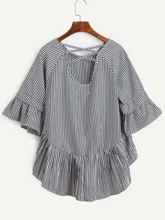 Shop Black Vertical Striped Lattice-Back Ruffle High Low Top online. SheIn offers Black Vertical Striped Lattice-Back Ruffle High Low Top & more to fit your fashionable needs.