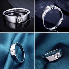 Effie Queen Unisex New Fashion Charm Brand Design Lady Wedding Zircon Ring High Quality Platinum Plated Men Women Rings DR03