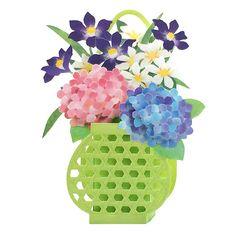 New Hydrangea in Basket Planter Pop Up Decorative Greeting Card #Sanrio #FlowerBasket #MothersDayBirthdayAnniversaryGetWell