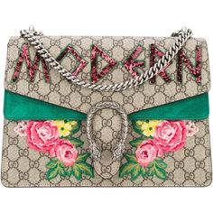 Gucci Dionysus Gg Supreme Shoulder Bag (€3.395) ❤ liked on Polyvore featuring bags, handbags, shoulder bags, green, genuine leather handbags, leather handbags, leather purses, genuine leather shoulder bag and green purse