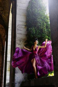 Fashion photography editorial model in purple flowing dress Purple Fashion, Love Fashion, Fashion Shoot, High Fashion, Shades Of Purple, Magenta, Plum Purple, Pink, Glamour