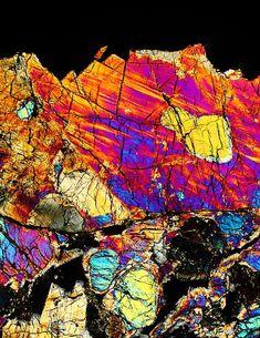 """Galactic Divide"" meteorite thin section micrograph, Lunar meteorite!"