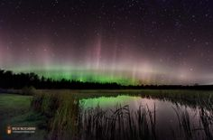 This image shows the Northern Lights shining over a small pond in central Maine in October 2013. Photographer Mike Taylor modified the image to reflect the less-dramatic colors and hues seen by the naked eye.