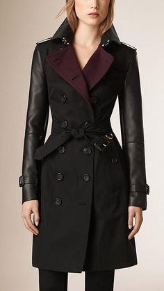 Black Leather Detail Cotton Gabardine Trench Coat - Image 1