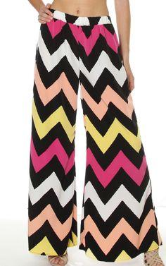 Black White Chevron Print Stretch Waist Wide Leg Palazzo Pants