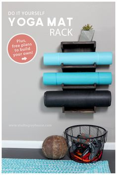 Yoga mat or foam rollers. Keep your yoga mats easy to grab and organized by building your own yoga mat rack. Perfect for a home gym. Free plans and template included. Workout Room Home, Workout Rooms, At Home Workouts, Exercise Rooms, Trx Workout, Exercise Ball, Workout Fitness, Yoga Fitness, Basement Gym