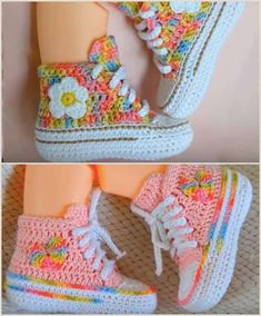 You can make these cute baby booties both for a baby boy and baby girl. Baby Converse Booties will be looking great! Crochet Toddler, Crochet Doll Clothes, Crochet Baby Booties, Crochet For Kids, Free Crochet, Crochet Blanket Patterns, Baby Patterns, Crochet Machine, Crochet Converse