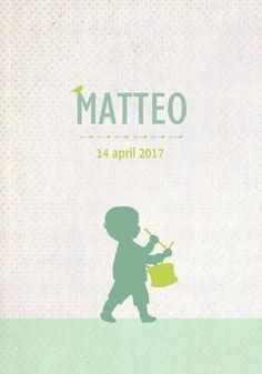Geboortekaartje Matteo - Pimpelpluis - https://www.facebook.com/pages/Pimpelpluis/188675421305550?ref=hl (# jongen - trommel - muziek - vogel - vrolijk - retro - vintage - silhouet - lief - origineel)