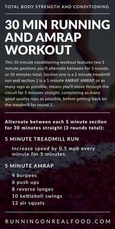 30 Minute Running and AMRAP Workout Try this conditioning and strength workout to work the entire body and improve aerobic fitness. You'll need 30 minutes, a treadmill and a kettlebell. Fitness Workouts, Fitness Herausforderungen, Treadmill Workouts, Running Workouts, At Home Workouts, Aerobic Fitness, Tabata, Cross Fit Workouts, Interval Training Workouts