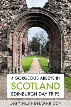 4 Gorgeous and atmospheric ruined Scottish Borders abbeys to visit. These are great day trips from Edinburgh and show another side to Scotland! century medieval abbeys to visit on your Scottish vacation. Cool Places To Visit, Places To Travel, Places To Go, Europe Travel Tips, European Travel, Travel Guides, Day Trips From Edinburgh, Scotland Travel, Scotland Tours