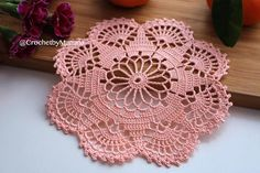 Handmade crochet peach doily Measurement: Diameter - 19 cm / 7.5'' -------------------------------------------------- This doily was made in a pet-free and smoke-free environment. Ready to ship. This doily is a perfect addition to your table, room decor, or can be a really nice