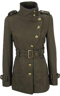 Black Rivet Asymmetrical Military Belted Wool Jacket