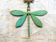 large Dragonfly necklace Patina necklace by Gypsymoondesigns, $25.00