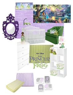 Disneyhome- Princess and the Frog inspired girls purple and green nursery by bijouxetsoirees on Polyvore featuring interior, interiors, interior design, home, home decor, interior decorating, ducduc, Tadpoles, Munchkin and Oilo