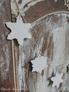 Snowflake Clay Tag Christmas Garland by #FrenchandSparrow on Etsy