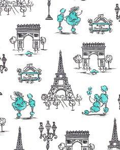 C'est La Vie - Poodles in Paris - Quilt Fabrics from www.eQuilter.com