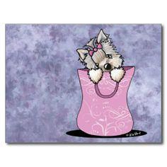 Yorkie Cuteness pink bag - puppy dog Postcard