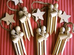 Clothespin Nativity Ornaments. DIY??  Yes.  Use 3 clothespin and a wooden star available in craft stores.  Cut on off to be Baby Jesus.  Tie twin around the neck .  Glue the three clothespins together.  Add a stiff wire holding up a star and a piece of twine to hang.