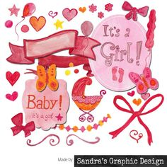 baby girl announcement card | New Baby Clipart | Pinterest ...