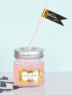 Metallic Foil Personalized Mason Jar Drinking Glasses with Flower Cut Lids - Baby