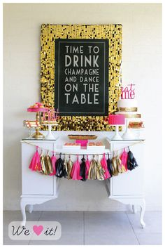 black, gold, + pink garland. Easy to make with leftover fabric around the house.