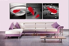 Spirit Up Art Abstract Art in Black Background Red Feather Print on Canvas Wall Decor Unframed Set of 3 YM-10007
