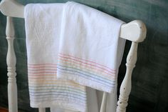 Brilliant Idea! DIY rainbow stripes on flour sack towels. I want to do this for my newborn diaper collection!