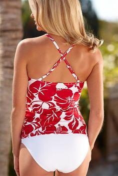 Flower Candy Twist Tankini Swimwear with White Bottoms, de achterkant van het bovenstukje, maar dan liever in het zwart (en misschien een paar andere effen kleuren)