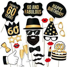 Amazon.com: 60th Birthday Props by PartyGraphix. Perfect for 60th Birthday Photo Booth. Durable. 34 Black & Gold Pieces: Kitchen & Dining