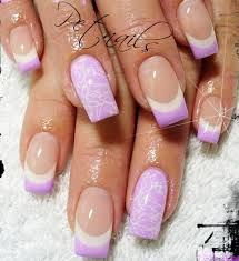 6b9957c0251 Lilac white french tipped nails with a standout flower design on the ring  finger.x Cute Acrylic Gel Fingernail Art Polish Design Ideas - Sexy Summer  ...