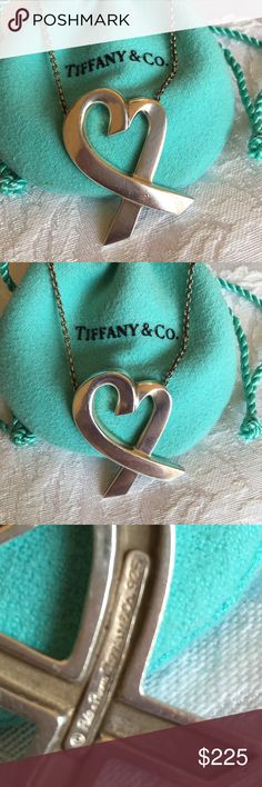 Paloma Picasso Tiffany & Co. Necklace Sterling silver Paloma Picasso Heart necklace. Loved this for years!!! Hurts to let it go but I just haven't worn it in forever and I'm cleaning!! Just polished and ready to go to the next Tiffany & Co. lover! This is the large one. They make a small and a large. This is the large one. Tiffany & Co. Jewelry Necklaces