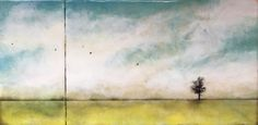 """Land and Sky"" series  Diptych 12x24 Encaustic"