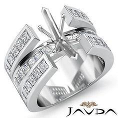 Diamond Wedding Ring Princess Channel Set 14k White Gold Marquise Semi Mount 1Ct