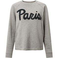 Samsoe & Samsoe Aphia Paris Sweatshirt, Dark Grey Melange ($115) ❤ liked on Polyvore featuring tops, hoodies, sweatshirts, print top, long sleeve sweatshirt, cotton sweatshirts, long sleeve tops and patterned sweatshirt